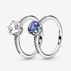 Fazem fé 100% 925 Libra Esterlina Anéis de prata e azul claro Coroa Espumantes Toques para mulheres jóias de Engrenamento Aniversário