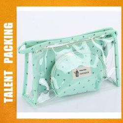 Personalizada PVC constituyen el conjunto de bolsas de viaje bolsa de cosméticos Bolsa pincel