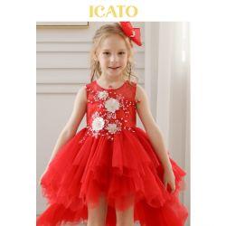 2-10t de rode Meisjes van de Bloem kleden de Kleine Kleding van de Tutu van de Prinses van het Huwelijk van de Partij van het Kant van Jonge geitjes voor Kinderen