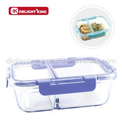 Nuevo diseño rectangular de cristal del compartimento de dos contenedores de alimentos tapa transparente de Almacenamiento de envases de alimentos Fiambrera