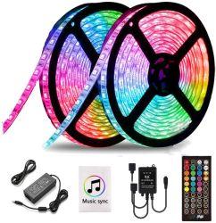 LED-Streifen-Lichter 39.3FT/12m 5050 die RGB-Licht-Streifen-Farben-änderndes Seil beleuchtet flexiblen Band-Licht-Installationssatz mit dem 44 Schlüssel-Ferncontroller u. 12V 5A Stromversorgung