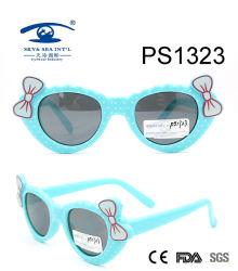 Lunettes de soleil en plastique de fille de gosse coloré mignon bleu-clair d'enfants (PS1323)