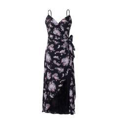 Plage d'été de mode Sweet Fleur robe sans manches imprimées feuillet plissé robe longue des femmes