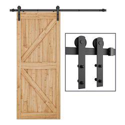 Heavy Duty cavité robuste de verre porte coulissante en bois de grange Kits de matériel de rouleau de chenille