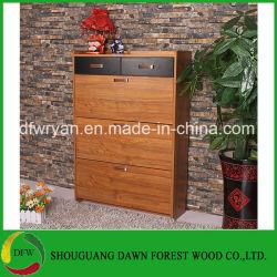 Venda a quente a melamina 3 porta de Queda do Gabinete da sapata de madeira escura