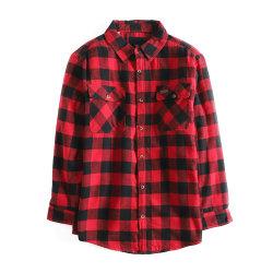 새로운 드레스 셔츠 긴팔 100% 면 길쭉한 컬러 롱라인 남성용 격자무늬 플란넬 캐주얼 폴로 셔츠