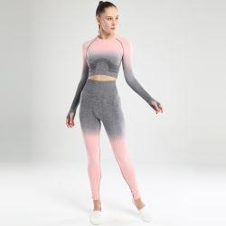 Conjunto de ioga Ginásio Vestuário Gradiente perfeita Perneiras Manga Longa Top Workout Sports Suit Mulheres Conjunto Fitness Desgaste activa
