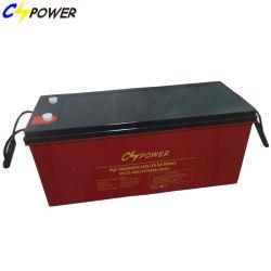 البطاريات الشمسية 12 فولت 200 أمبير/ساعة، وحدة طاقة بطارية جل قابلة لإعادة الشحن