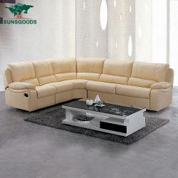本革の部門別の横たわるソファーは6つSeaterをセットした