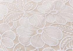 La leche de encaje bordado en seda tejido de malla de Tela Tela de tul