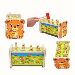 As crianças de madeira Gophers Banco Palpitante Whack a Mole Martelo Mouse Jogo Brinquedo Musical