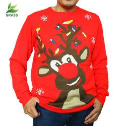 Mann-Pullover-trauriges Schneemann-Rotwild-Muster-Weihnachtshässliche Strickjacke