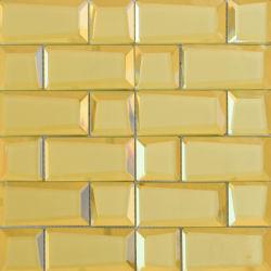 En verre feuilleté de forme carrée jaune décoration murale Mosaïque d'or