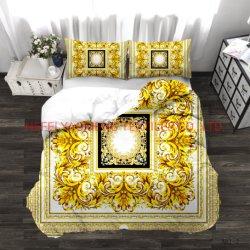 Alle Größe passte Firmenzeichen-Bettwäsche-Set mit bequeme Deckel-Markenname-Firmenzeichen-Bett-Blatt-Set-weicher kundenspezifischer Druckduvet-Deckel-Rococo Textilbett-Einstellung an