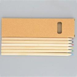 """Рекламные канцелярских принадлежностей из вторсырья из естественной древесины 7""""6 ПК раунда цветной карандаш в крафт-бумаги ."""