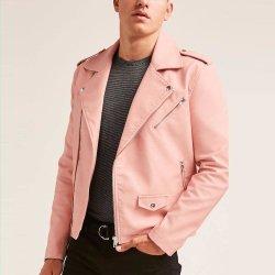 Städtische Männer, die rosafarbene asymetrische Reißverschluss Moto Lederjacke China kleiden