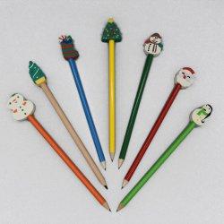 Popolarità personalizzabile usata come parte superiore ecologica della matita dell'HB del regalo di festival con il grande eraser a forma di di natale