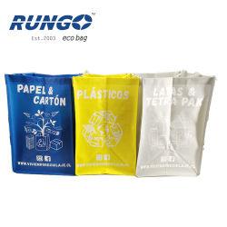 PP tissés recyclés de gros sacs à ordures laminé avec plastification