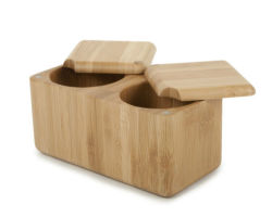 Le bambou Double carré en bois Salt Box / Spice-7401 Cave BB