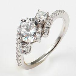 형식 3 주요 돌 925 순은 다이아몬드 반지 호화스러운 결혼식 보석