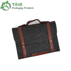Tamaño Personalizado promocional tela fieltro Funda portátil tablet pc con empuñadura de cuero de suministros de oficina en el bolso Tote Bag bolsa de embalaje