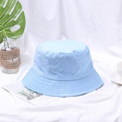 L'été pliable en coton unisexe Logo personnalisé Pop Hip de couleur large bord plage Protection UV Chapeau de godet