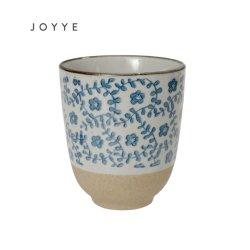 De hete Ceramische Mok van het Ontwerp van de Zandige Klei van de Verkoop Kleine Bloemen Blauwe