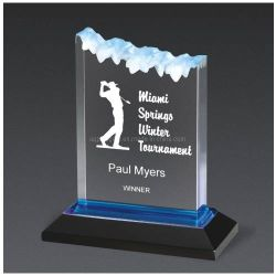 Personalizar el trofeo de acrílico transparente Trofeo Premio evento recién diseñadas con el Trofeo de Golf de cristal azul Base (25).