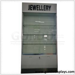 China einzigartige maßgeschneiderte Pop Schmuck Einzelhandel kommerzielle Möbel MDF Holz Acryl Schmuck Display Schrank mit gehärtetem Glas Tür und Einlegeböden