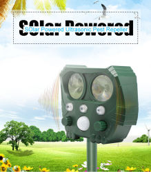Outdoor Garden Solar Powered Ultrasonic Pest Bird Cat Reeller Sonic Repelente de rato eletrónico de dispositivo de cobra de pássaros