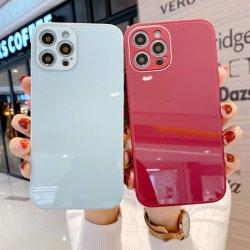 vidrio templado cuadrados caso Protector Tapa de Disco Duro para el iPhone 12 12 Teléfono Pro Max de los casos coque con Logo