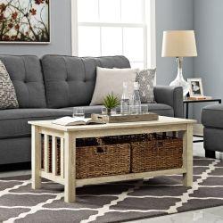 Белой дубовой миссии стиле усовершенствованная MDF кофейный столик с емкостью для хранения Мебель для гостиной