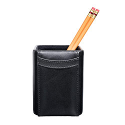 Houder van het Potlood van het Leer van de Kop van de Pen van de Desktop van de douane de Zwarte met Embleem