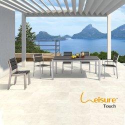 Патио алюминий набор таблицы для отдыхающих полимерной древесины обеденный стол и стул