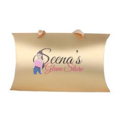 Logo personnalisé imprimé fantaisie perruque de papier carton or oreiller Weave Hair Extension Case Package avec une poignée de ruban