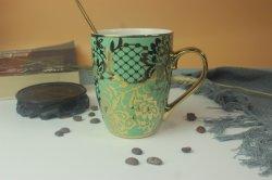 Einzigartiges Design New Bone China Druck Kaffee Becher Keramik Gold