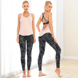 تمرين اليوغا لتعزيز اللياقة البدنية بدون درزات بفضل أداة التحكم في التمور عالية الخصر المطبوعة من قبل OEM ارتدِ سروال اليوغا في النادي الرياضي