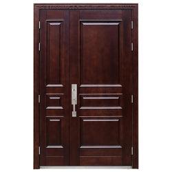 Exterior de acero de grano de madera marrón Fuego de la puerta de la armadura de seguridad