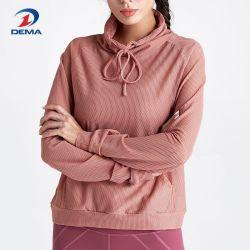 La mujer suéter tejido de malla capa Outwear casual con bolsillo