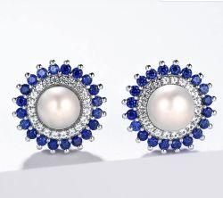 L'orecchino d'acqua dolce naturale della vite prigioniera dell'argento della perla per le donne multa lo zaffiro blu creato monili stile elegante dell'ufficio per i monili delle donne