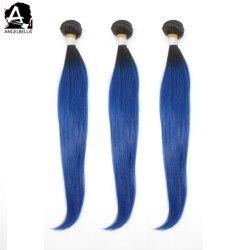 Angelbella верхнюю часть волос поставщик шелка прямой Weft 1b#-голубой Омбре бразильского прав волосы вьются