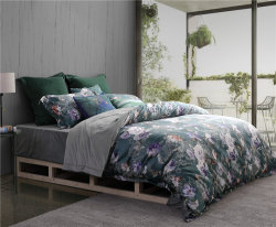 도매 100%년 면 침대 시트 침구는 주문 인쇄한 호텔 깃털 이불 덮개를 놓는다