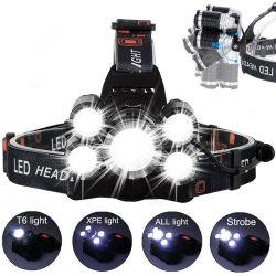 Im Freien wasserdichte T6 5LED Scheinwerfer-Leistungs-Taschenlampe für kampierendes Fischen