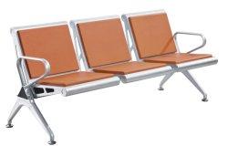 3-местный стальной стул с PU подушки сиденья стульев для ожидания клиента салон красоты парикмахерская