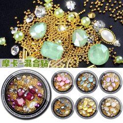 3D Pierre Moka Perles de Diamant BEAD mélangés Nail Art Decoration