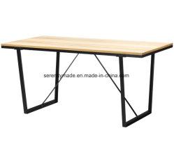 Superfície de madeira da estrutura de metal Canby Trestle Canto mesa de café para a Livraria e Restaurante