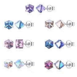 Orecchini cubici della vite prigioniera dell'alberino del diamante dell'argento sterlina S925