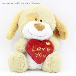 Comercio al por mayor de San Valentín con el corazón de peluche de perro de Peluche Juguetes