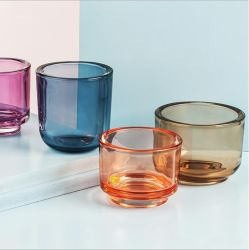 VSS Luxury 색상 Thick Wall Voitive Glass Candle Holder for 홈 장식