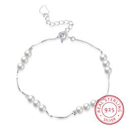 Bracciale In Acciaio 925 Sterling Delicato Bracciale In Argento Perla Per Ragazza Giovane